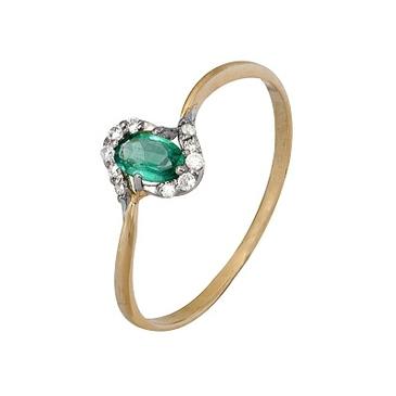 кольцо c изумрудом из красного золота 1910202287