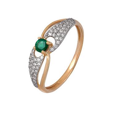 кольцо c изумрудом из красного золота 1910202424