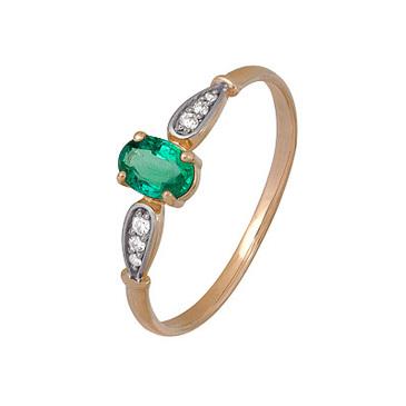 кольцо c изумрудом из красного золота 1910202482