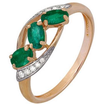 кольцо c изумрудом из красного золота 1910202489
