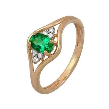 кольцо c изумрудом из красного золота 1910202485