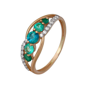 кольцо c изумрудом из красного золота 1910202422