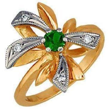 кольцо c изумрудом из красного золота 1243210