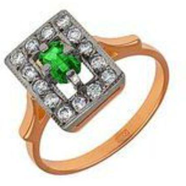 кольцо c изумрудом из красного золота 1243262