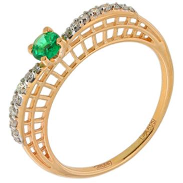 кольцо c изумрудом из красного золота 11438139