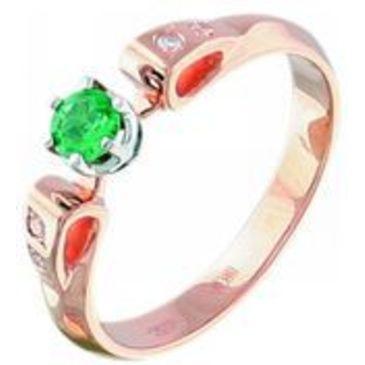 кольцо c изумрудом из красного золота 12432780