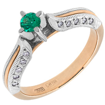 кольцо c изумрудом из красного золота 12433049