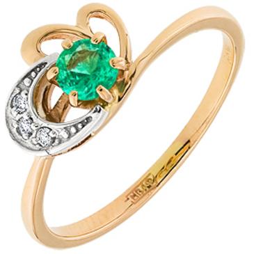 кольцо c изумрудом из красного золота 12433284