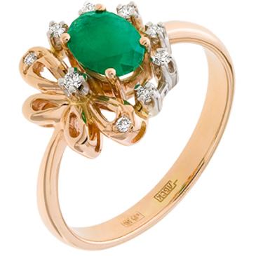 кольцо c изумрудом из красного золота 12433663
