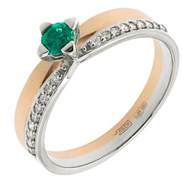 кольцо c изумрудом из красного золота 12437624