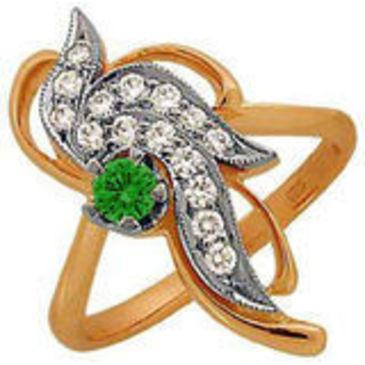 кольцо c изумрудом из красного золота 1243873
