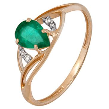 кольцо c изумрудом огранки груша и бриллиантами из красного золота 1910202349
