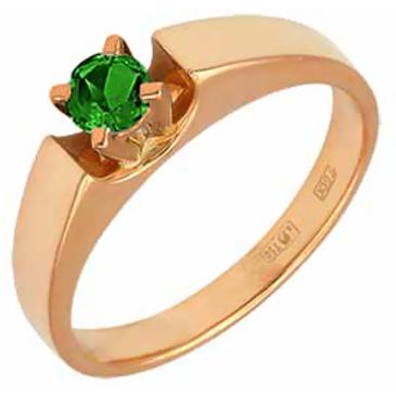 кольцо c одиночным изумрудом из красного золота 11401558