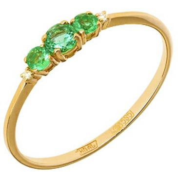 кольцо c тремя изумрудами из красного золота 11438416
