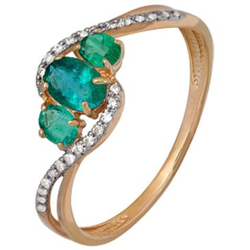 кольцо Чародейка c 3 изумрудами и 26 бриллиантами из красного золота 1910202296