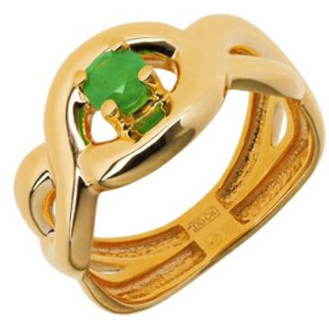 кольцо косичка c изумрудом из красного золота 11408734