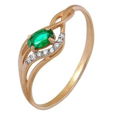 кольцо Оттенки Счастья c изумрудом и бриллиантами из красного золота 1910202345