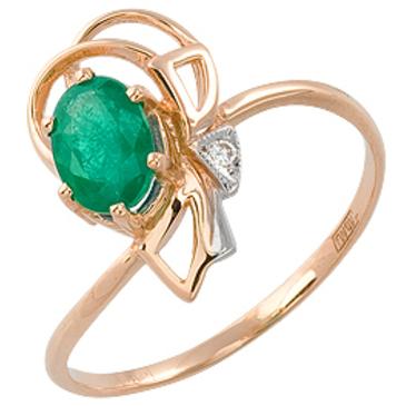 кольцо Оттенки счастья c изумрудом и бриллиантом из красного золота 11431096