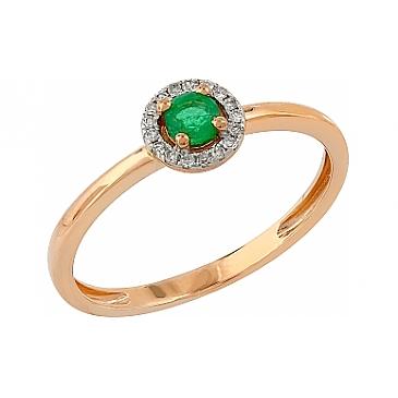 Кольцо с бриллиантами и изумрудами из красного золота 104965