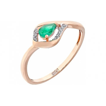 Кольцо с бриллиантами и изумрудом из красного золота 112969