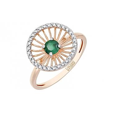 Кольцо с бриллиантами и изумрудом из красного золота 117362