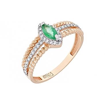 Кольцо с бриллиантами и изумрудом из красного золота 118295