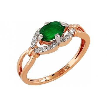 Кольцо с бриллиантом и изумрудом из красного золота 103606