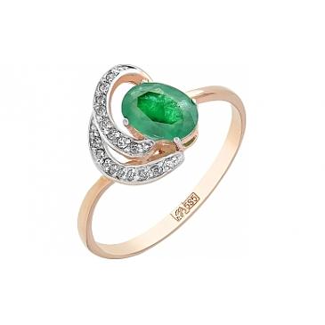 Кольцо с бриллиантом и изумрудом из красного золота 104759