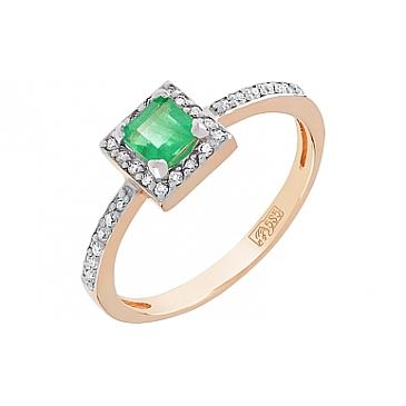 Кольцо с бриллиантом и изумрудом из красного золота 112232