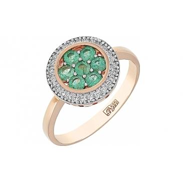 Кольцо с бриллиантом и изумрудом из красного золота 109919