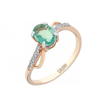 Кольцо с бриллиантом и изумрудом из красного золота 102800