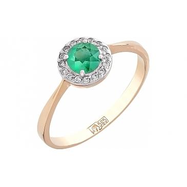 Кольцо с бриллиантом и изумрудом из красного золота 105575