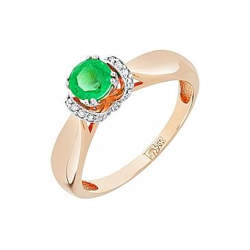 Кольцо с бриллиантом и изумрудом из красного золота 109891