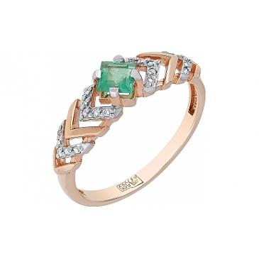 Кольцо с бриллиантом и изумрудом из красного золота 114631
