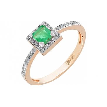 Кольцо с бриллиантом и изумрудом из красного золота 112231