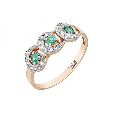 Кольцо с бриллиантом и изумрудом из красного золота 95849