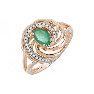 Кольцо с бриллиантом и изумрудом из красного золота 116751