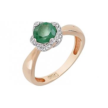 Кольцо с бриллиантом и изумрудом из красного золота 119067