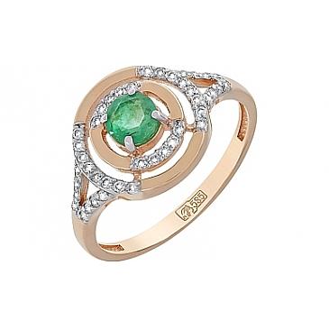 Кольцо с бриллиантом и изумрудом из красного золота 119114