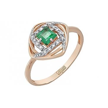 Кольцо с бриллиантом и изумрудом из красного золота 119214
