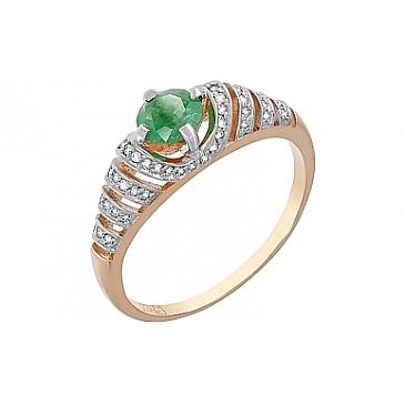 Кольцо с бриллиантом и изумрудом из красного золота 119215