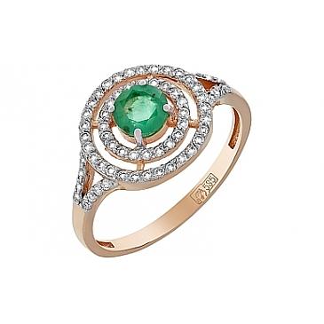 Кольцо с бриллиантом и изумрудом из красного золота 119217