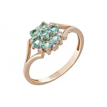Кольцо с бриллиантом и изумрудом из красного золота 119221