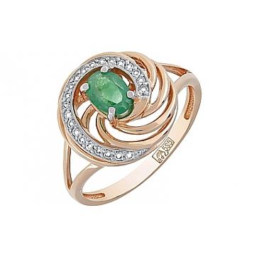 Кольцо с бриллиантом и изумрудом из красного золота 119222