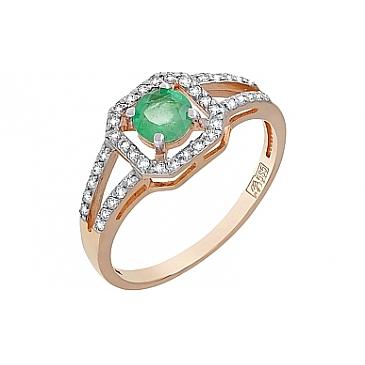 Кольцо с бриллиантом и изумрудом из красного золота 119223