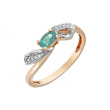 Кольцо с бриллиантом и изумрудом из красного золота 96295