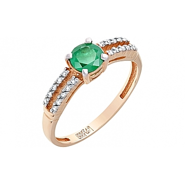 Кольцо с бриллиантом и изумрудом из красного золота 115660
