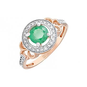 Кольцо с бриллиантом и изумрудом из красного золота 118180