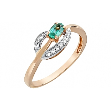 Кольцо с бриллиантом и изумрудом из красного золота 96234