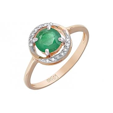 Кольцо с бриллиантом и изумрудом из красного золота 120402